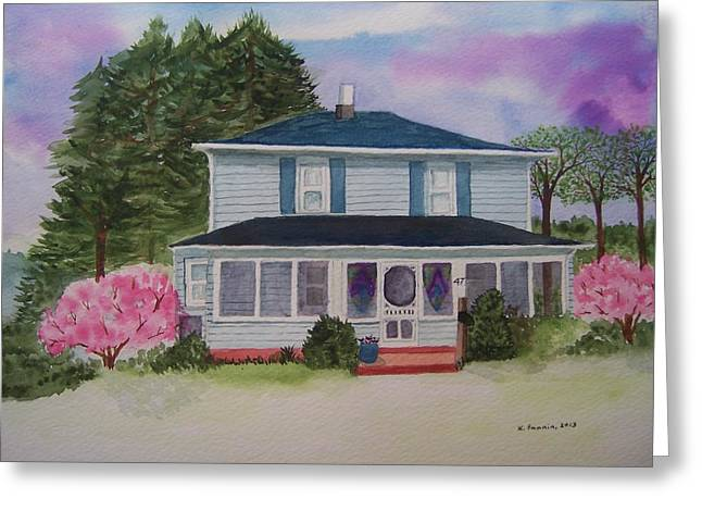 Screened Porchs Paintings Greeting Cards - Springtime in Ohio Greeting Card by B Kathleen Fannin