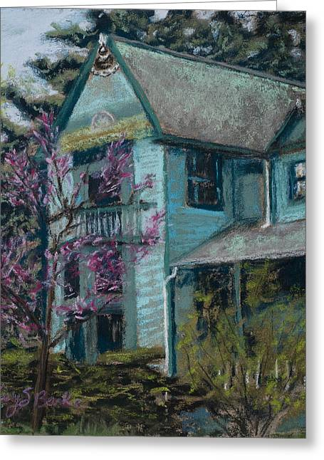 Red Buildings Pastels Greeting Cards - Springtime in Old Town Greeting Card by Mary Benke
