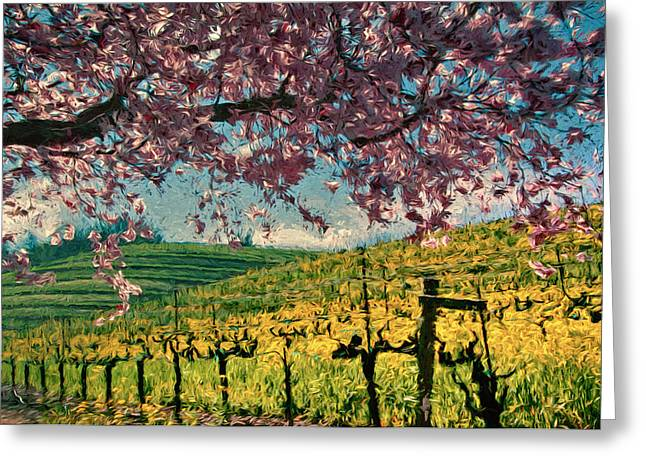Sonoma Mixed Media Greeting Cards - Springtime in Pink Greeting Card by John K Woodruff