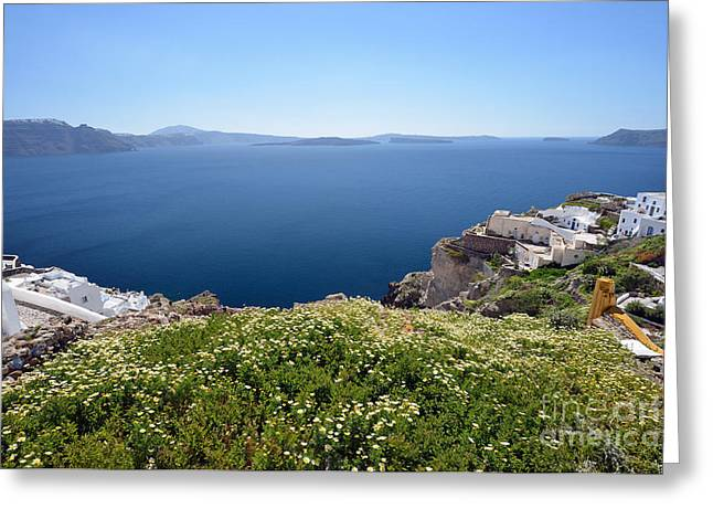 Framed Prints Greeting Cards - Springtime in Santorini island Greeting Card by George Atsametakis