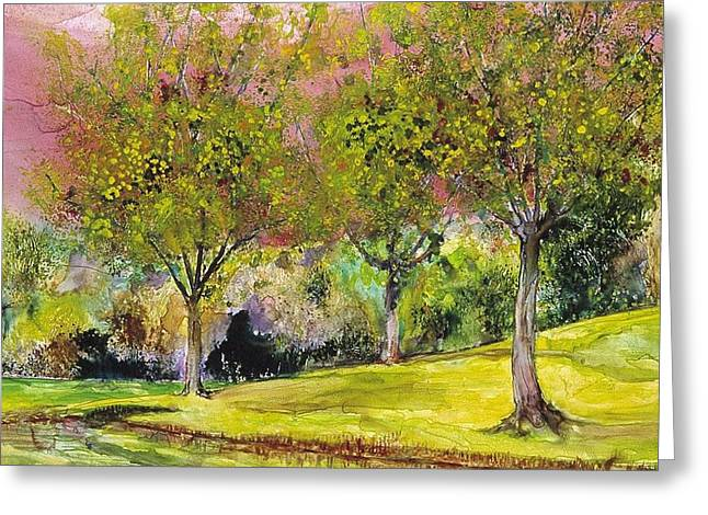 Park Scene Paintings Greeting Cards - Springtime in Sawgrass Park Greeting Card by Gary Debroekert
