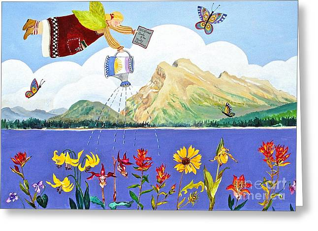 Canmore Artist Greeting Cards - Springtime In The Rockies Greeting Card by Virginia Ann Hemingson