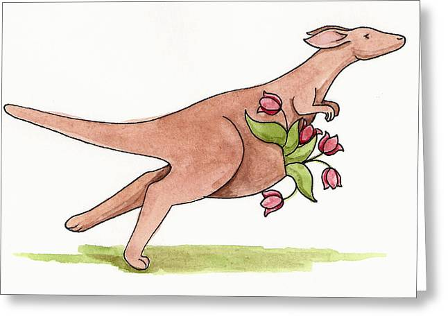 Kangaroo Drawings Greeting Cards - Springtime Kangaroo Greeting Card by Christy Beckwith