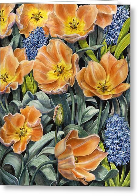 Spring Bulbs Greeting Cards - Springtime Greeting Card by Karen Wright
