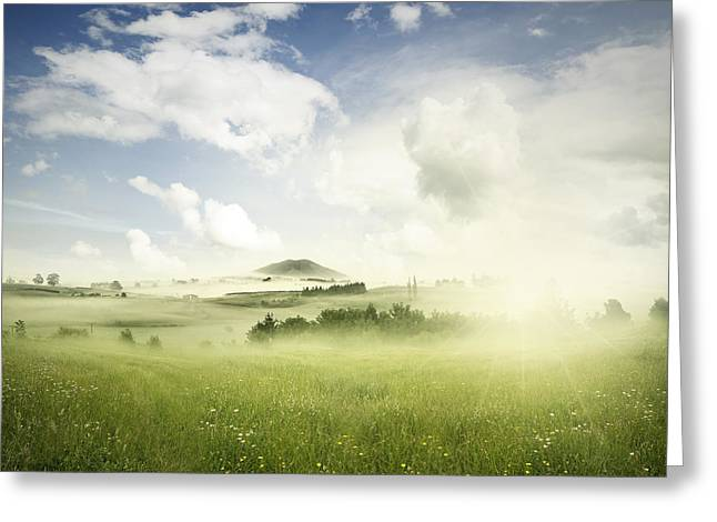 Beautiful Scenery Greeting Cards - Springtime meadow Greeting Card by Les Cunliffe