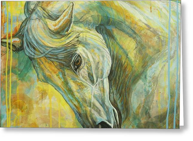Blue Horse Greeting Cards - Springtime Moods Greeting Card by Silvana Gabudean