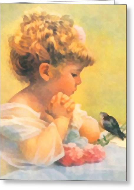 Baby Bird Digital Greeting Cards - Springtime of Life Greeting Card by Bessie Pease Gutmann