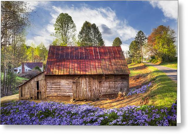 Old Country Roads Greeting Cards - Springtime on the Farm Greeting Card by Debra and Dave Vanderlaan
