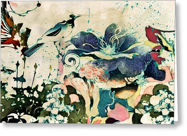 Illustrative Mixed Media Greeting Cards - Springtime Ornamental Vintage Greeting Card by Georgiana Romanovna