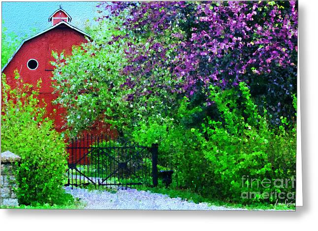 Outbuildings Digital Art Greeting Cards - Springtime Red Barn Greeting Card by Anna Surface