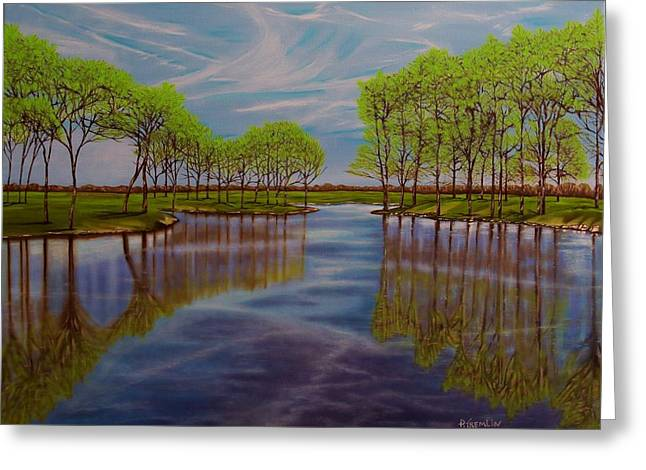 Blue Green Water Greeting Cards - Springtime Reflection Greeting Card by Paul Tremlin