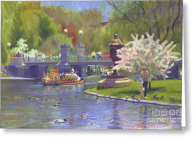 Baby Mallards Paintings Greeting Cards - Springtime Swan Boats Greeting Card by Candace Lovely
