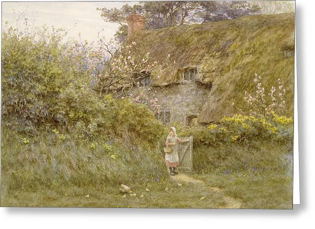 Thatch Greeting Cards - Springtime Wc On Paper Greeting Card by Helen Allingham