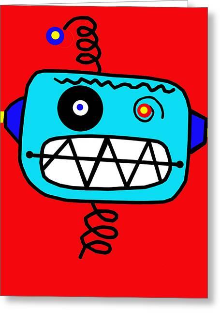 Springy Greeting Cards - Springy Red Robot Greeting Card by Lynnda Rakos