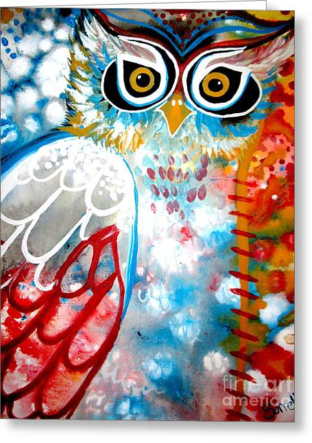 Imaginary Owl Greeting Cards - Sprinkles Greeting Card by Amy Sorrell