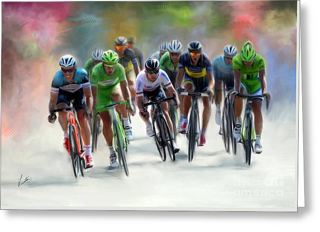 Sprint Finish Greeting Card by Linton Hart