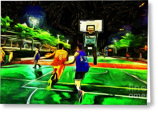Basket Ball Game Greeting Cards - Sprint to the hoop Greeting Card by Magomed Magomedagaev