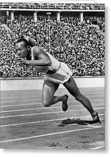 Sprinter Jesse Owens Greeting Card by Underwood Archives