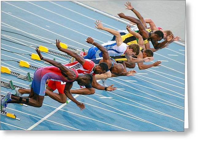 Sprinter Greeting Cards - Sprinters leaving their blocks Greeting Card by Science Photo Library