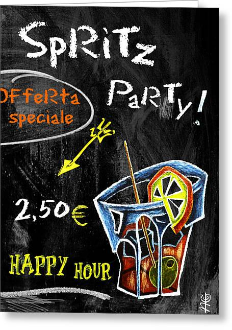 Cocktails Pastels Greeting Cards - Spritz Party Happy Hour - Aperitif Venice Italy Greeting Card by Arte Venezia