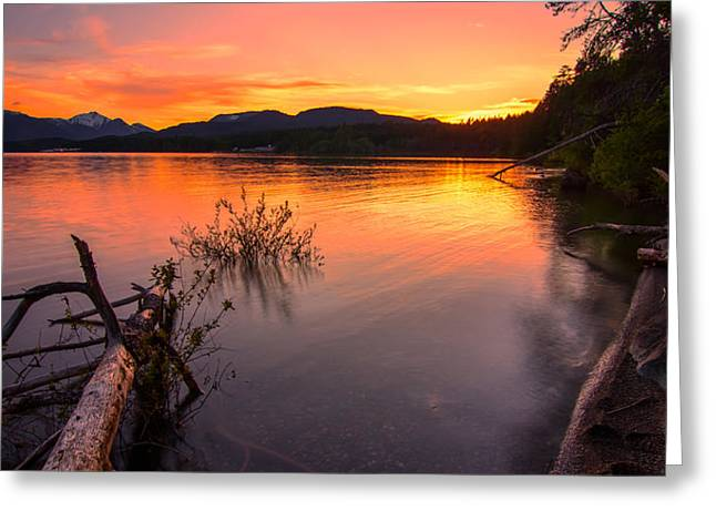 Peaceful Scenery Greeting Cards - Sproat Lake Sunset Greeting Card by James Wheeler