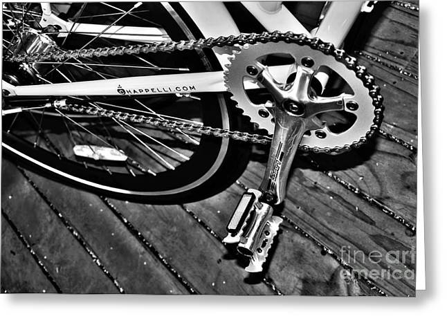 Spokes Greeting Cards - Sprocket and Chain - Black and White Greeting Card by Kaye Menner