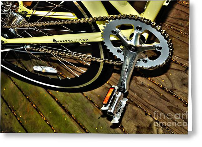 Spokes Greeting Cards - Sprocket and Chain Greeting Card by Kaye Menner