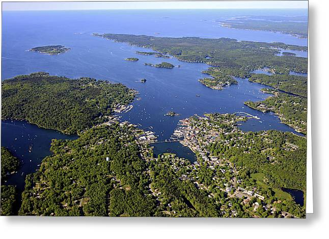 Boothbay Harbor Greeting Cards - Spruce Point And Boothbay Harbor, Maine Greeting Card by Dave Cleaveland