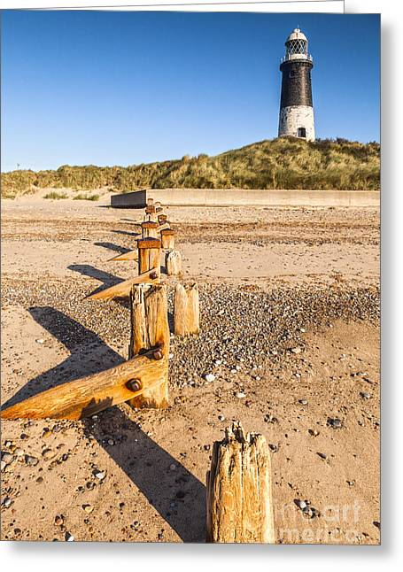 Disused Greeting Cards - Spurn Point Lighthouse and Sea Defences Greeting Card by Colin and Linda McKie