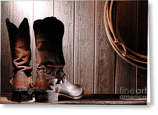 Western Boots Greeting Cards - Spurs on Cowboy Boots Heels Greeting Card by Olivier Le Queinec