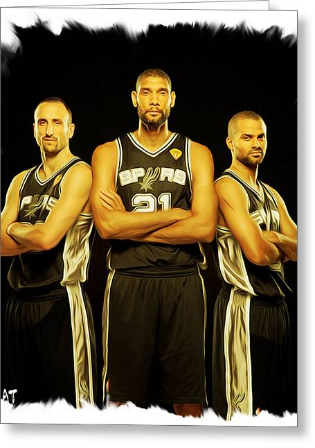 Nba Champs Greeting Cards - Spurs Greeting Card by Paint Splat