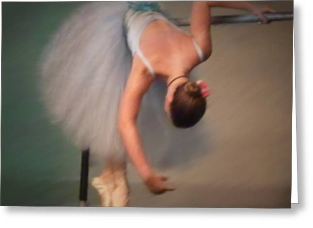 Ballet Bar Greeting Cards - Sq Oil Bending At The Bar Greeting Card by Dale Crum