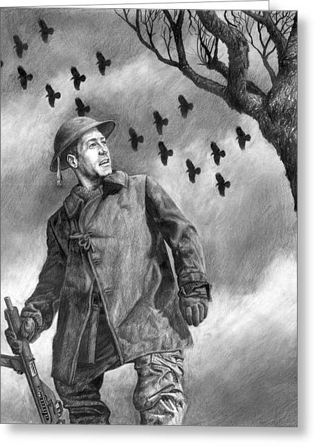World War 2 Drawings Greeting Cards - Squadron Greeting Card by Mark Zelmer