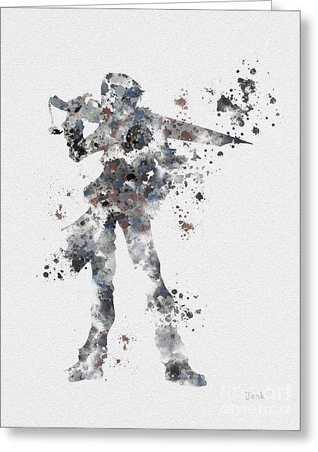 Character Mixed Media Greeting Cards - Squall Leonhart Greeting Card by Rebecca Jenkins