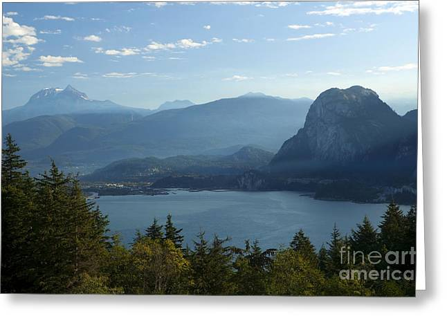 Best Sellers -  - Sailboats In Harbor Greeting Cards - Squamish Stawamus Chief Garibaldi Mountain Howe Sound Landscape Greeting Card by Kevin Miller