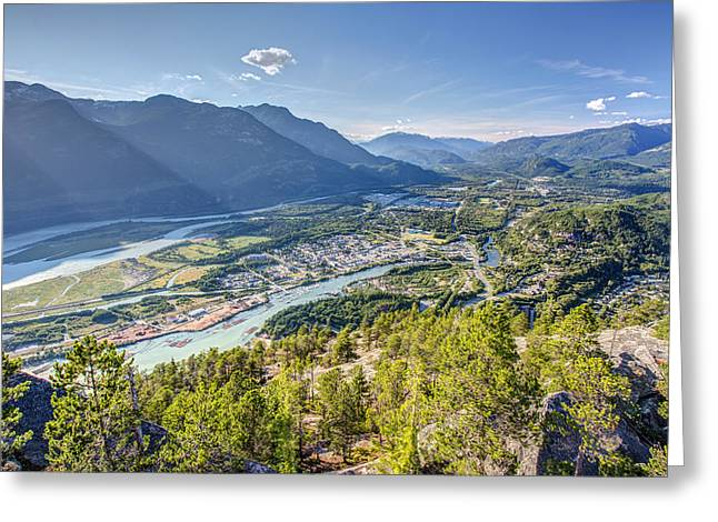 Monolith Greeting Cards - Squamish town from the summit of the Stawamus Chief Greeting Card by Pierre Leclerc Photography
