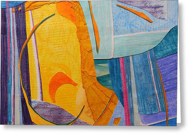 Adel Nemeth Greeting Cards - Square Abstract Collage Greeting Card by Adel Nemeth
