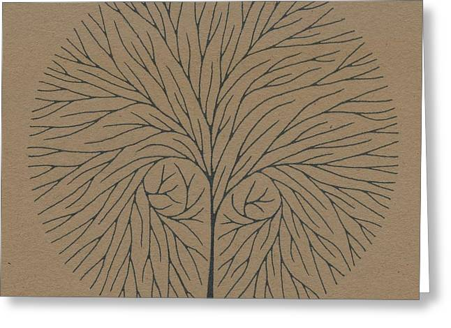Pen And Ink Drawing Greeting Cards - Square Circle Tree Greeting Card by Chris Bishop