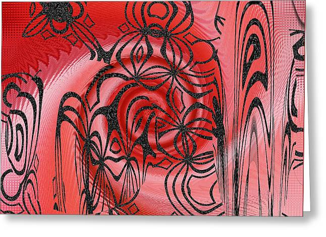 Floral Digital Art Digital Art Greeting Cards - Square In Red With Black Drawing No 1 Greeting Card by Ben and Raisa Gertsberg
