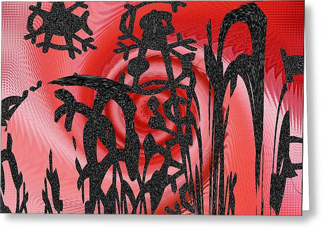 Irregular Forms Greeting Cards - Square In Red With Black Drawing No 3 Greeting Card by Ben and Raisa Gertsberg