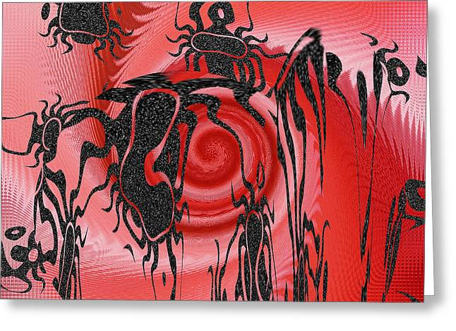 Irregular Forms Greeting Cards - Square In Red With Black Drawing No 4 Greeting Card by Ben and Raisa Gertsberg