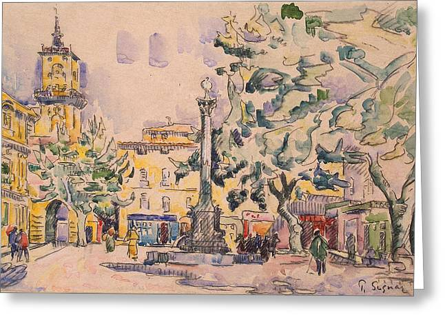 Summer Scene Drawings Greeting Cards - Square of the Hotel de Ville Greeting Card by Paul Signac