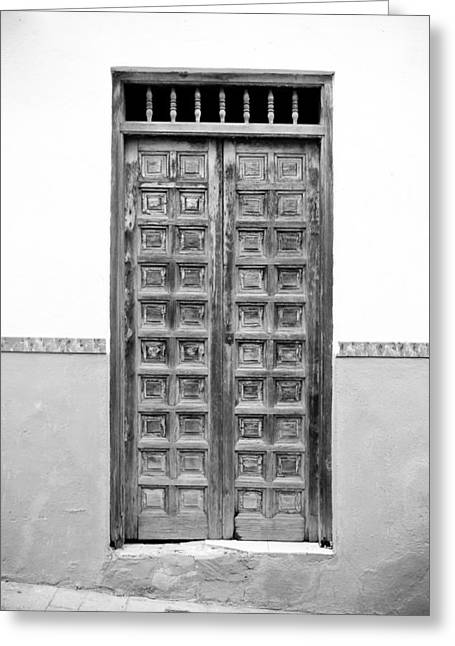 Extremadura Greeting Cards - Square Panel Door Spain BW Greeting Card by Calvin Hanson
