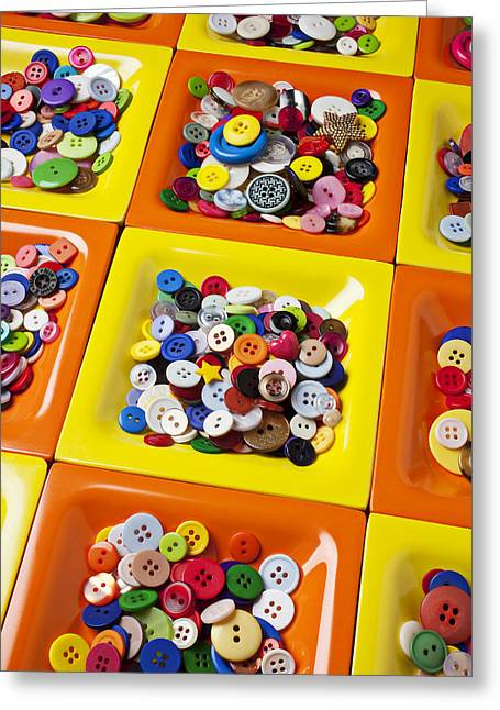 Buttons Greeting Cards - Square plates with buttons Greeting Card by Garry Gay