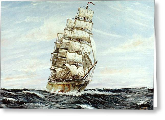 Square Rigger Greeting Cards - Square Rigged ship Sophicles Greeting Card by Mackenzie Moulton