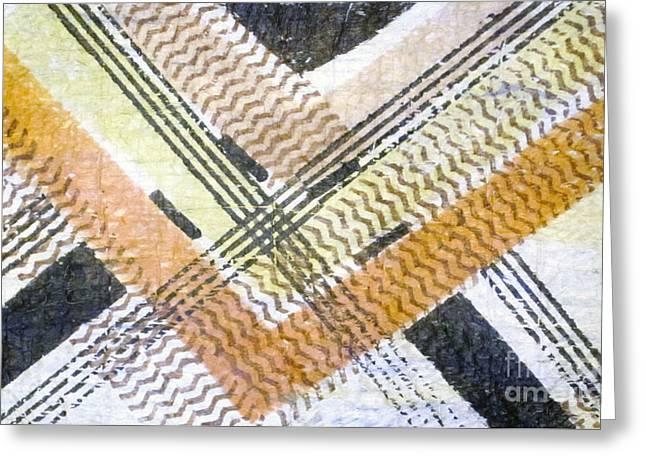 Abstract Shapes Tapestries - Textiles Greeting Cards - Square Root of Kapa Greeting Card by Dalani Tanahy