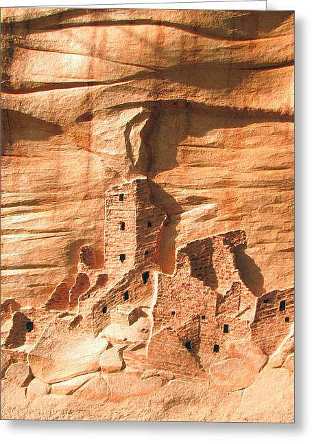 Wall Reliefs Greeting Cards - Square Tower House Mesa Verde Greeting Card by Carl Bandy