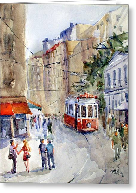 Tram Red Paintings Greeting Cards - Square Tunel - Beyoglu Istanbul Greeting Card by Faruk Koksal