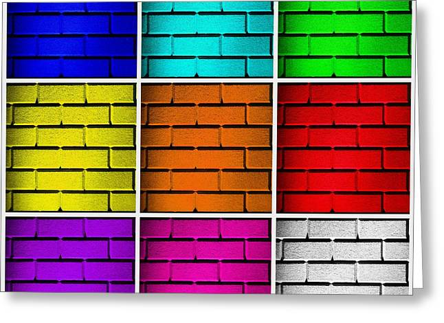 Geometric Effect Greeting Cards - Squared Color Wall  Greeting Card by Semmick Photo