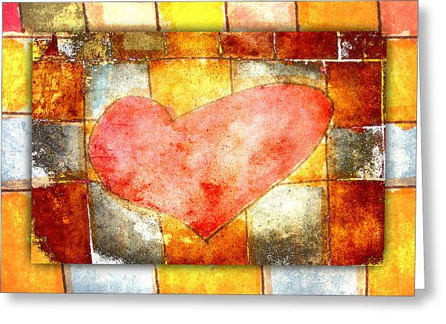 Lively Greeting Cards - Squared Heart Greeting Card by Carol Leigh